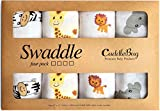 "Muslin Baby Swaddle Blankets -""Safari Friends"" - 4 Pack - CuddleBug 47 x 47 inch Large Muslin Swaddles - Soft Cotton Blankets - Baby Shower Gift - Perfect for Nursery Sets - Unisex"