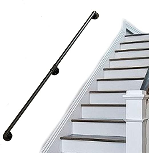 Amazon Com Industrial Wrought Iron Stair Handrail Complete Kit | Outdoor Iron Stair Railing | Porch | Iron Pipe | Commercial | Galvanized Iron | Redwood