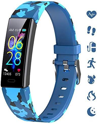 K-berho Slim Fitness Tracker for Kids Women Men,Heart Rate Monitor,IP68 Waterproof Activity Tracker for Boys&Girls,Blood Pressure,11 Sport Modes Health Smart Watch with Pedometer 1