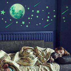 500 PCS Glow in The Dark Stars Wall Stickers,  Dark Stars and Full Moon for Ceiling or Wall Stickers Shining Decoration,Glowing Wall Decals Stickers for Kids ,Girls Boys Room Decorations for Bedroom