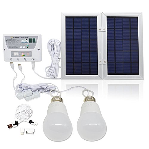 [6W Panel Foldable] HKYH Solar Mobile Light System, Solar Home DC System Kit, 3.7V Lithium Battery - 6W Foldable Panel Solar Home System Kit - including 3 Cell Phone Charger - 2 LED Lights