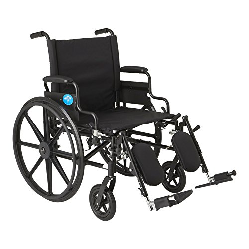 Medline Premium Ultra-Lightweight Wheelchair with Flip-Back Desk Arms and Elevating Leg Rests for Extra Comfort, Black, 22' x 18' Seat