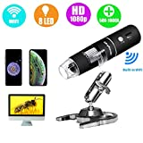 Wireless Digital Microscope, Skybasic 50X to 1000X WiFi Handheld Zoom Magnification Endoscope Camera Magnifier 1080P FHD 2.0 MP 8 LED Compatible with Android and iOS Smartphone or Tablet, Windows Mac