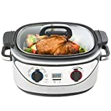VonShef Slow Cooker 5-Quart Stainless Steel - Cook, Simmer, Sear, Roast, Bake, Steam & Warm