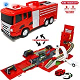 Big Mo's Toys Firetruck Playset - Fire Truck and Playset with Cars All in One - Ideal for Kids Gifts