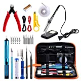 GEYOTAR Soldering Iron Kit,Electric Soldering Iron kit, 60W Adjustable Temperature Welding Tool, Desoldering Pump, 5pcs Soldering Tips, Desoldering Wick, Iron Stand, Solder Wire, Tweezers