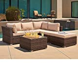 SUNCROWN Outdoor Furniture Sectional Sofa (4 Piece Set) All Weather Brown Checkered Wicker with Beige Washable Seat Cushions and Glass Coffee Table | Patio, Backyard, Pool | Waterproof Cover and Clips