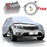 KAKIT 5 Layer Car Cover SUV Cover Durable Waterproof Windproof for Summer Outdoor, Rain, Dust, Sun UV All Weather Prevention, Windproof Ribbon & Anti-Theft Lock, Fits up to 180' SUV