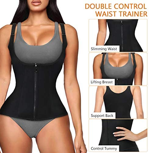 Women Waist Trainer Corset, Zipper Vest Body Shaper Cincher, Shapewear Slimming Sports Girdle, Neoprene Sauna Tank Top with Adjustable Straps 2