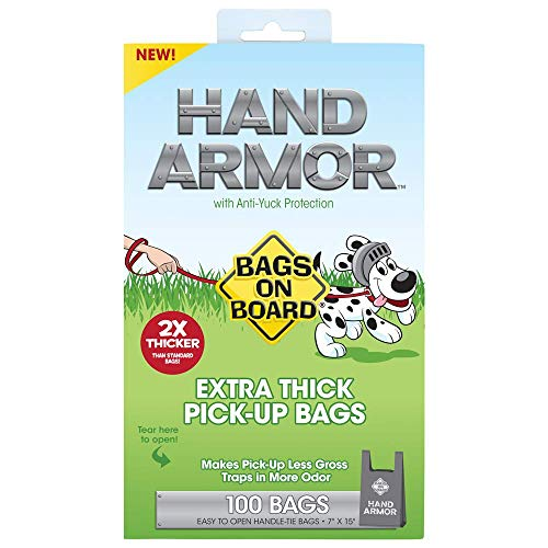Bags On Board Hand Armor Dog Poop Bags | Extra Thick Dog Waste Bags with Leak Proof Protection | 7x15 Inches, 100 Bags