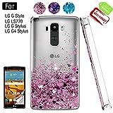 LG G Stylo Phone Case with HD Screen Protector for Girls Women, Luxury Glitter Diamond Quicksand Clear TPU Protective Phone Case for LG G Stylo, LG G Vista-2, LG G4 Stylus LS770 Pink