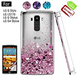 LG G Stylo Phone Case with HD Screen Protector for Girls Women, Luxury Glitter Diamond Quicksand Clear TPU Protective Phone Case for LG G Stylo, LG G Vista-2, LG G4 Stylus LS770 Pink