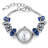 MANBARA Bangle Watches for Women Charm Beaded Bracelets with Blue Glass Beads Elegant Jewelry for Women