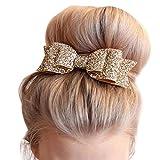 Missgrace Womens Satin Big Bow Hair Clip Barrette Accessory-Sequin Bow Clips