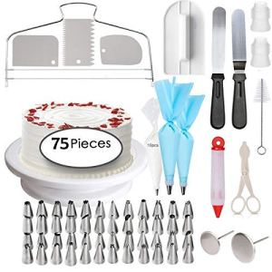 Cake Decorating Supplies – Abimars Professional Cupcake Decorating Kit | Baking Supplies | Rotating Turntable Stand, Frosting & Piping Bags and Tips Set, Icing Spatula and Smoother, Pastry Tools 51uu10ihe7L