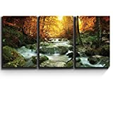 wall26 - Forest Waterfall Scene - Canvas Art Wall Decor - 16' x 24' x3 Panels