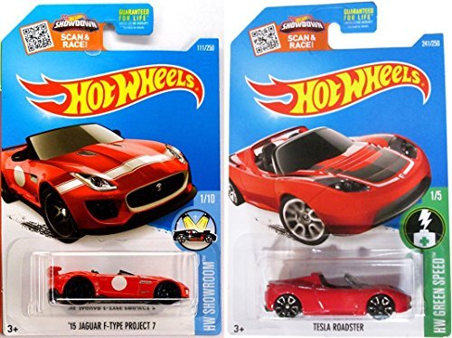 Tesla Model Roadster Hot Wheels #241 Convertible & Jaguar F-Type Project 7 All Red 2016 in PROTECTIVE CASES