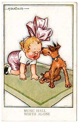 A. Bertiglia Art Postcard Puppy Licking a Crying Baby