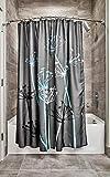 InterDesign Thistle Fabric Shower Curtain, Modern Mildew-Resistant Bath Liner for Master Bathroom, Kid's Bathroom, Guest Bathroom, 72 x 72 Inches, Gray and Blue