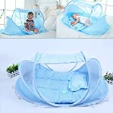 KidsTime Baby Travel Bed,Baby Bed Portable Folding Baby Crib Mosquito Net Portable Baby Cots Newborn Foldable Crib(BLUE)