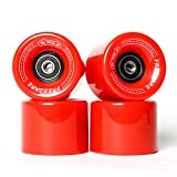FREEDARE Skateboard Wheels 60mm 83a with Bearings and Spacers Cruiser Wheels (Red,Pack of 4)