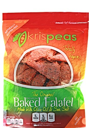 krispeas Baked Falafel Chips - Spicy Snack Made from Green Split Peas, Flax Seed, Olive Oil. Perfect for Dipping Hummus. All Natural, Vegan, Gluten Free, High Protein, Low Carb. (7 oz)