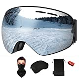 KACOOL Ski Goggles Snowboard Goggles OTG Design Snow Goggles Spherical Detachable Lens UV Protection Anti-Fog for Men and Women-Free Ski Mask and Hard EVA Case