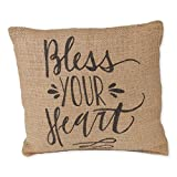 The Country House Collection Bless Your Heart Calligraphy Print 8 x 8 inch Burlap Decorative Throw Pillow