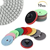 PTPTRATE 10pcs 4'' Diamond Polishing Pads Set, M14 Self-Adhesive Holder + 9 Pieces Wet Dry Polishing Pads Kit for Granite Marble and Stone