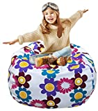 Kid's Stuffed Animal Storage Bean Bag Chair with Extra Long Zipper, Carrying Handle, Large Size at 38', 100% Sturdy Cotton. Excellent Solution for Toys and Clothes, Available For Boys And Girls