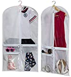 Kimbora Costume Dance Garment Bag with 3 Clear Zipper Pockets for Suits Dress Cover, Travel & Competitions Protector, Set of 2