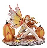 "Ebros Amy Brown Tribal Fairy Godmother with Pumpkins Statue 5"" Tall Fantasy Mythical Faery Magic Watercolor Collectible Decor Figurine Gift Ideas for Women Teen Girls Fairy Garden DIY Art Centerpiece"