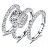 R2S7 HIGH QUALITY 2 CARAT RADIANT EMERALD CUSHION CUT SONA NSCD SIMULATED DIAMOND RING BAND 3 PCS SET SOLID 925 SILVER,7
