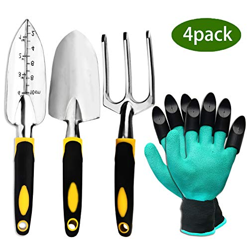 ZOUTOG Garden Tool Set, 4 Pack Gardening Gifts Including Trowel, Cultivator Hand Rake, Transplant Trowel, Gardening Gloves - for Weeding, Loosening Soil, Digging, Transplanting and More