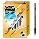 BIC Round Stic Grip Xtra Comfort Ballpoint Pen, Medium Point (1.2mm), Black, 36-Count