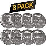 8 Pack AmVolt CR2032 Battery 220mAh 3 Volt Lithium Battery Coin Button Cell 2023 Expiry Date