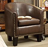 Product review for Rosevera Home Duilio Arm Club Chair, PU Leather Tub Barrel Modern Chair, Espresso
