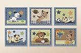 Bow Wow Puppy Buddies. Dogs and Sports Nursery Wall Art Prints (8'x10', (6) Set of Six)