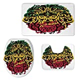 Rasta Soft Three Piece Toilet Seat,African Ethiopian Culture Wild Lion Head Grunge Style Flag Colors Decorative for Toilet,ONE Size