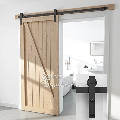 SMARTSTANDARD SDH-0066-STANDARD-BK Heavy Duty Sliding Barn Door Hardware Kit, 6.6ft Single Rail, Fit 36'-40' Wide DoorPanel, Black, Super Smoothly and Quietly, Simple and Easy to Install