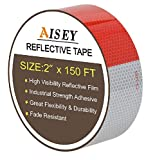 2' X 150ft Reflective Safety Tape Red and White for Trailers Waterproof - DOT C2 Tape Reflectors