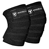 Iron Bull Strength Knee Wraps (1 Pair) - 80' Elastic Knee and Elbow Support & Compression - for Weightlifting, Powerlifting, Fitness, WODs & Gym Workout - Knee Straps for Squats (Black)