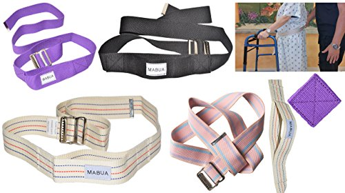 Flash Sale! MABUA Physical Therapy Gait Belt with Metal Buckle -1 Loop Handle Beige 60'. Also Available 1 Loop Handle: Beige 72', Black 60', 72', Pink 60'
