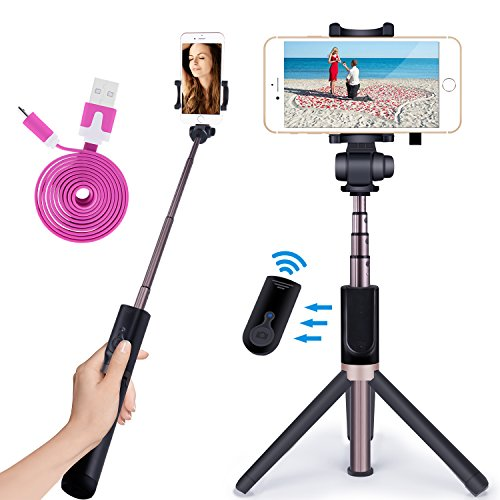 Apexel Selfie Stick Bluetooth Monopod with Foldable Tripod Stand and Remote Control Extendable Aluminum Alloy 360 Rotation Phone Holder for iPhone 6S Plus 7 Plus 8 Plus Samsung S8 S7 S6 Edge