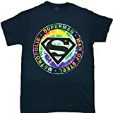 Superman Tie-Dye Man of Steel Logo SS T-Shirt Design 2XL Navy Blue