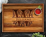 Personalized Tray, Teak, Personalized Christmas Gifts, Engraved Tray, Custom Tray, Wedding Gift, Housewarming Gift, Anniversary Gift, Tray, Wood Tray, Split Letter, Engagement Tray