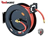 REELWORKS Air Compressor/Water Hose Reel Retractable Spring Driven Steel Construction Heavy Duty Industrial 3/8' x 50' Max 300 PSI Premium Commercial Flex Hybrid Polymer Hose