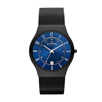 Skagen Men's Sundby Quartz Titanium and Stainless Steel Mesh Casual Watch, Color: Black (Model: T233XLTMN)