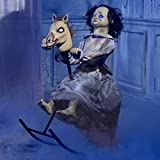 Animated Rocking Horse Girl Halloween Decoration and Prop, 32 1/4' x 24' x 18 1/2', by Tekky Toys