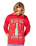 Tree Isn't The Only Thing Getting Lit Ugly Christmas Sweater - L